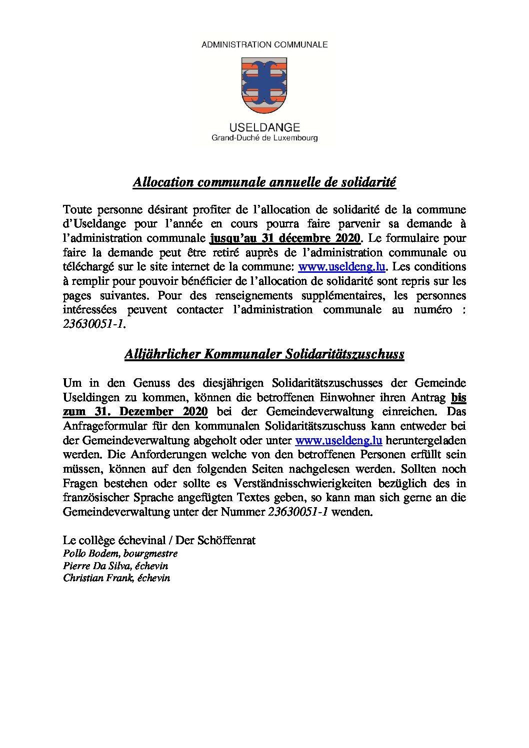 Allocation de solidarité 2020 - Avis et règlement