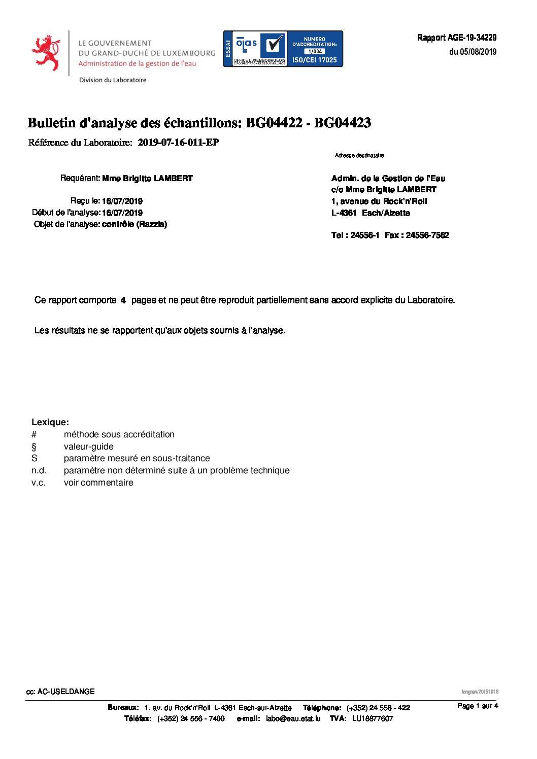 Bulletin d'analyse de l'Administration de la Gestion d'Eau