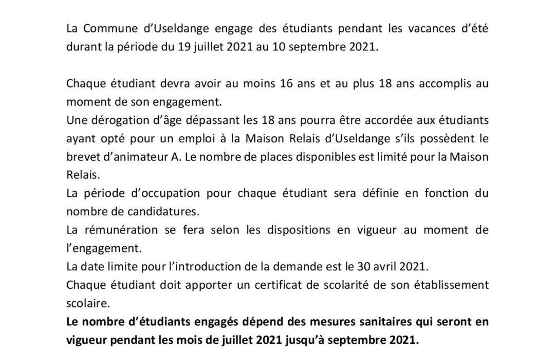 Job d'étudiant 2021