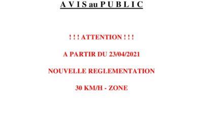 Zones 30 km/h à partir du 23/04/2021
