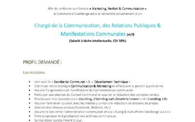 Vacance de poste – Chargé de la Communication, des Relations Publiques & Manifestations Communales (m/f)