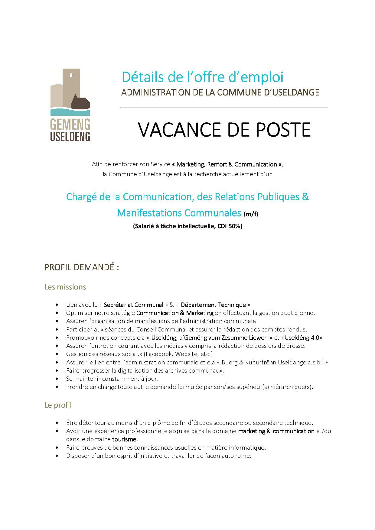Vacance de poste - Chargé de la Communication, des Relations Publiques & Manifestations Communales (m/f)