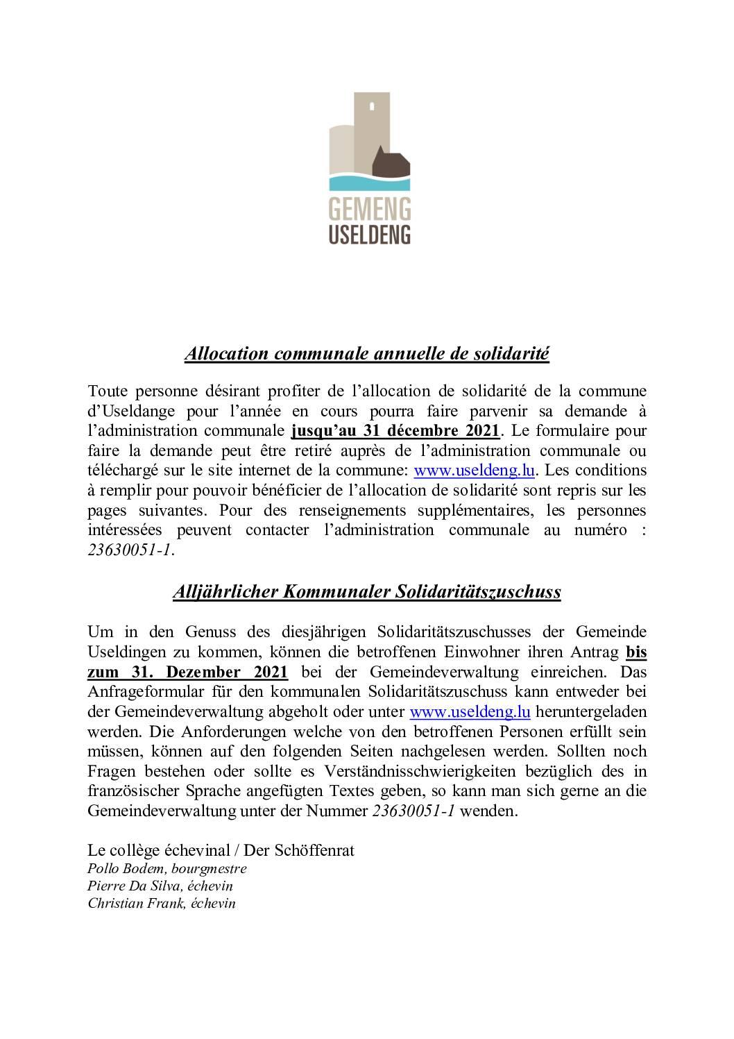 Règlement allocations de solidarité 2021